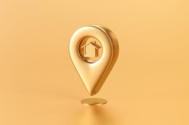 Gouden woonhuis of huislocatiespeld op gouden kaartachtergrond met onroerende goederenzaken. 3d-weergave.