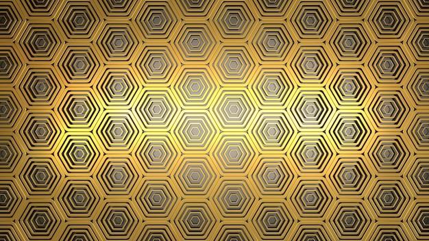 Gouden zeshoek patroon 3d render