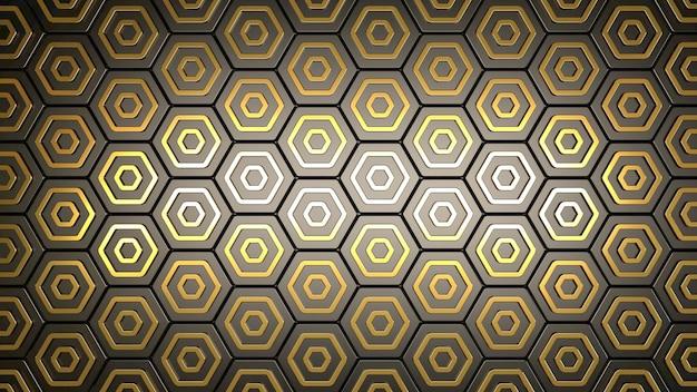 Gouden zeshoeken op grijze achtergrond 3d render