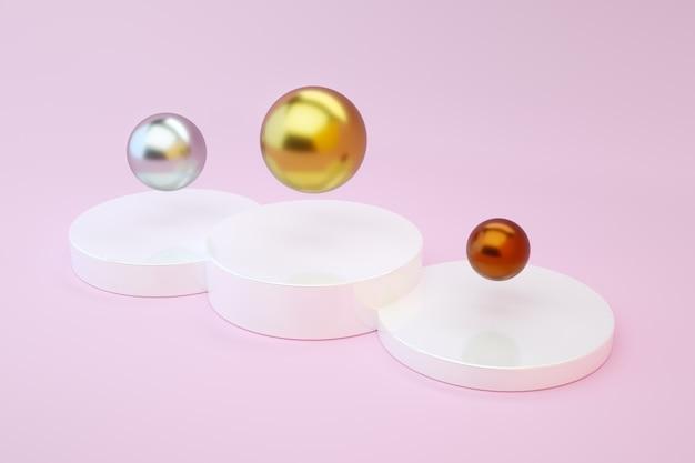 Gouden, zilveren en bronzen ballen op een podium op een roze achtergrond. olympische spelen en sport. 3d render