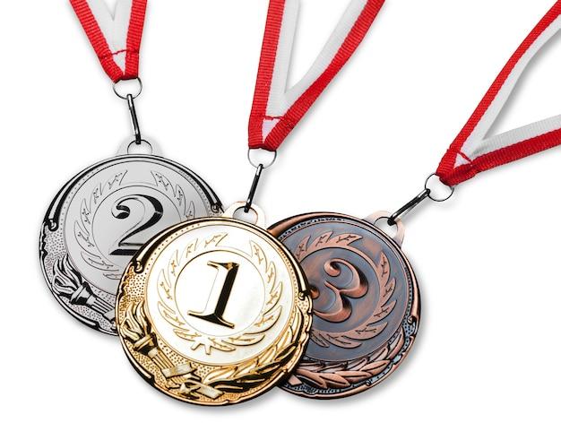 Gouden, zilveren en bronzen medailles met linten