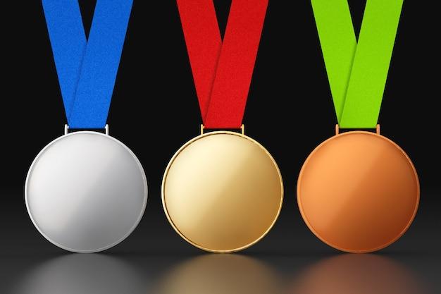 Gouden, zilveren en bronzen medailles op een zwarte achtergrond
