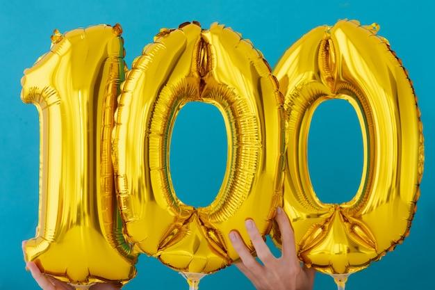 Goudfolie nummer 100 feestballon