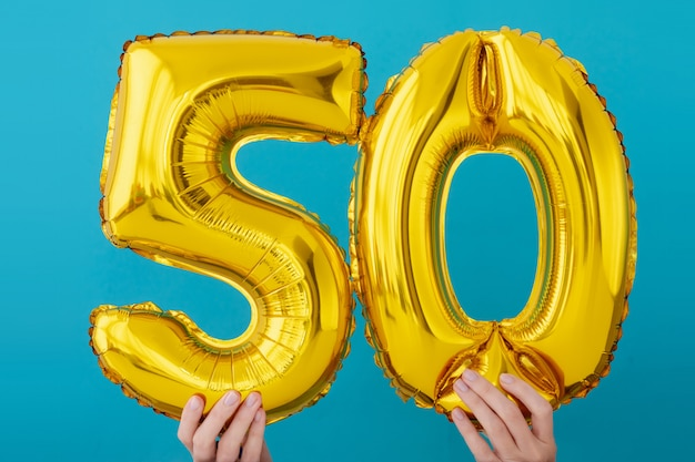 Goudfolie nummer 50 feestballon
