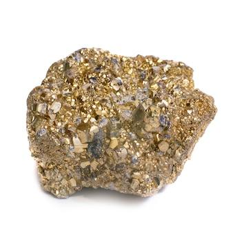 Goudklompje op dwaas goud geïsoleerd op wit.