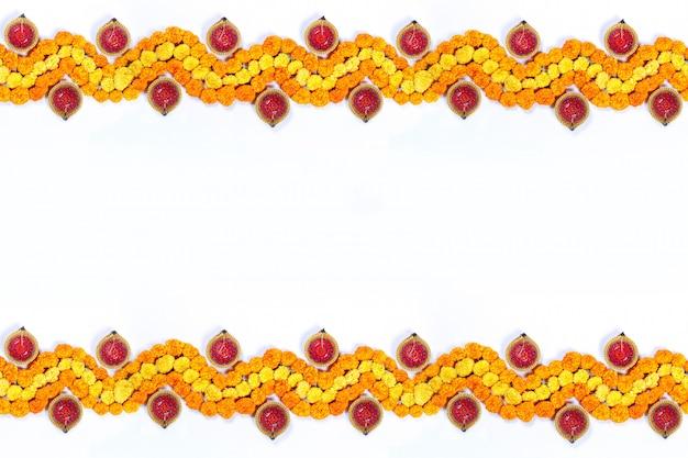 Goudsbloem bloem rangoli ontwerp voor diwali festival, indian festival bloemdecoratie