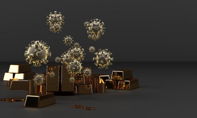Goudstaaf en muntstuk met coronavirus, het 3d teruggeven