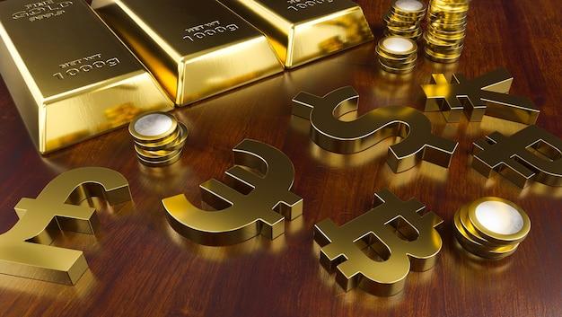 Goudstaven en gouden valutasymbolen. beursachtergrond, bankwezen of financieel concept.