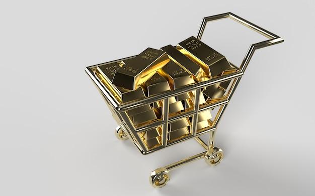 Goudstaven, gouden winkelwagen, het gewicht van glanzende gouden staven 1000 gram 999,9. concept van miljardair rijkdom en reserve. financiële kostbare rijkdom metaal of geld investeringsconcept.