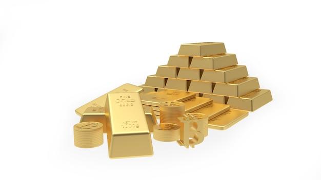Goudstaven in een piramide met munten en bitcoin 3d