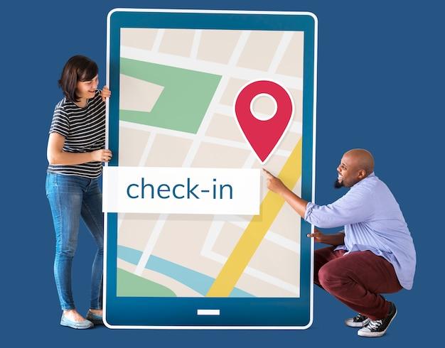 Gps-navigatiekaart op digitaal apparaat