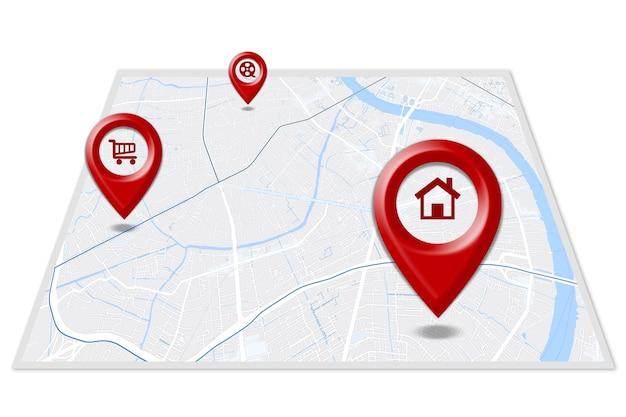 Gps.navigator rode, blauwe en groene pinnen simuleren de kaart op een witte achtergrond. voor afdrukken en grafisch ontwerp