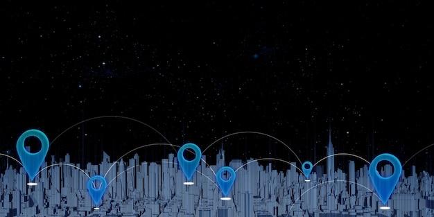 Gps-pinnen en satelliettransmissie grote stad vol hoge gebouwen coördinaten toewijzen op een navigatiekaart met 3d-afbeeldingen