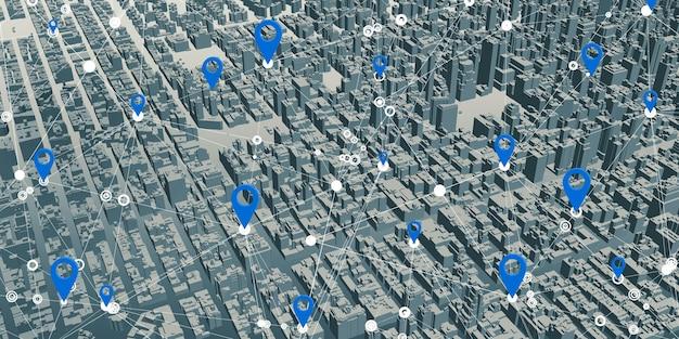 Gps-pinnen op gesimuleerde stadslandschapskaarten. gps-netwerkverbinding in 5g- en 6g-systeem 3d illustratie