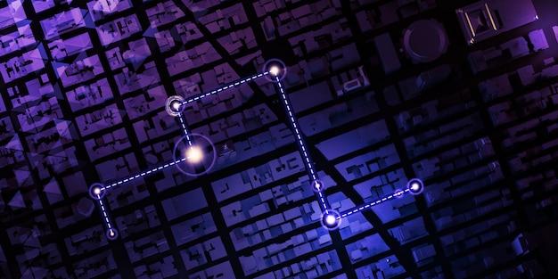 Gps-tracker kaartnavigatiespelden op de kaartnavigatietechnologie die kapitaalweg in kaart brengen 3d