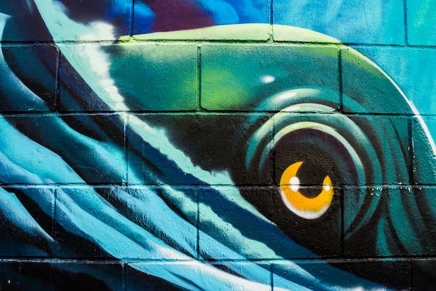 Graffiti van een zeemonster