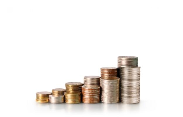 Grafiek beurs. stapel van munten op stapels. investeringsbesparend concept