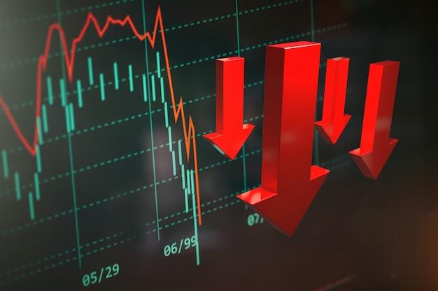 Grafiek die de crash op de financiële markt wereldwijd weergeeft