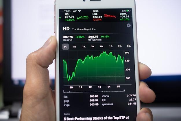 Grafiek handel forex zakelijke investeringen op scherm mobiele telefoon soft focus