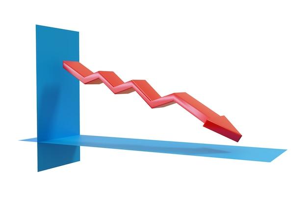 Grafiek met dalende groei met pijl in drie dimensies.