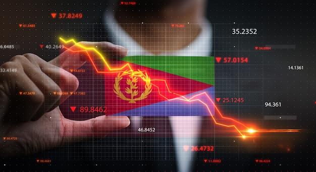 Grafiek vallen voor eritrea vlag. crisis concept