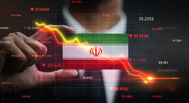 Grafiek vallen voor iran vlag. crisis concept