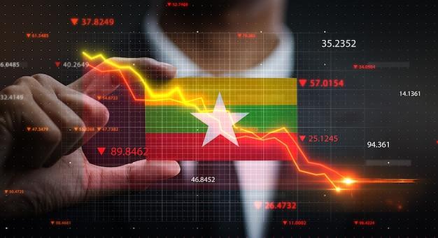 Grafiek vallen voor myanmar vlag. crisis concept