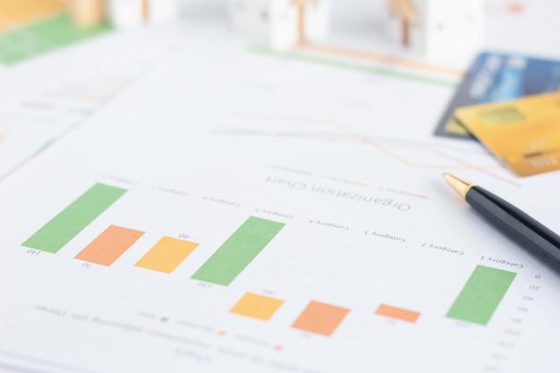 Grafiek van financiële documenten met miniatuur witte huizen en creditcards op tafel