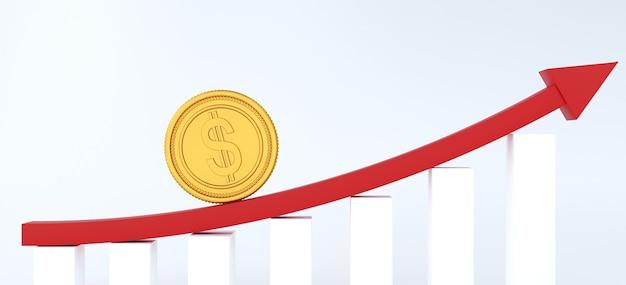 Grafiek van groei omhoog en gouden dollarmuntstuk bovenop.