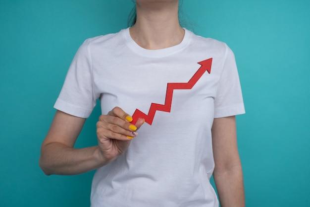 Grafiekdiagram opgroeien in de hand. het succes ligt in jouw handen. rode pijl omhoog in de hand van een vrouw op een blauwe achtergrond. prijs verhoging