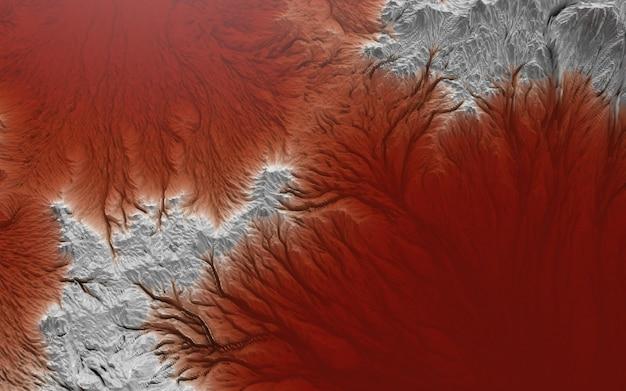 Grafisch landschap, casual beeld van het aardoppervlak en rood waterconcept rond het thema milieuvervuiling