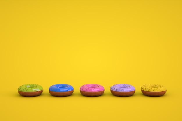 Grafische 3d-modellen van geglazuurde donuts op een gele geïsoleerde achtergrond. modellen van verschillende gekleurde donuts die op een rij liggen. ronde geglazuurde donuts.