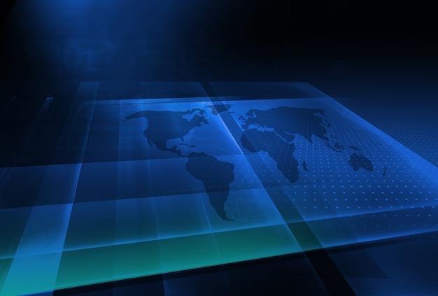 Grafische 3d-ruimte met wereldkaartachtergrond