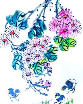 Grafische achtergrond pruim traditionele kunst japanse