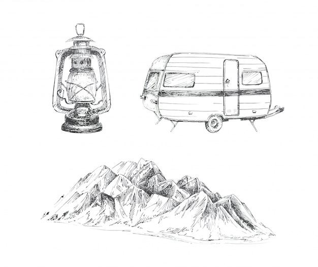 Grafische camping thema clipart set geïsoleerd. kampeerbusje, vintage lantaarn en bergen landschapsillustraties. reizen concept ontwerpset.