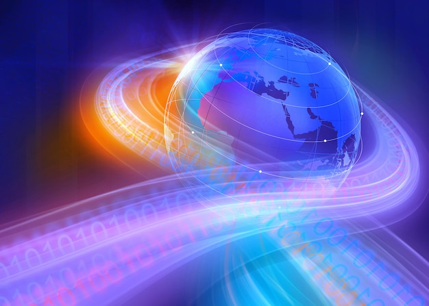Grafische digitale binaire wereld achtergrond