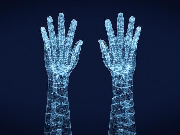 Grafische draadframe afbeelding van menselijke handen