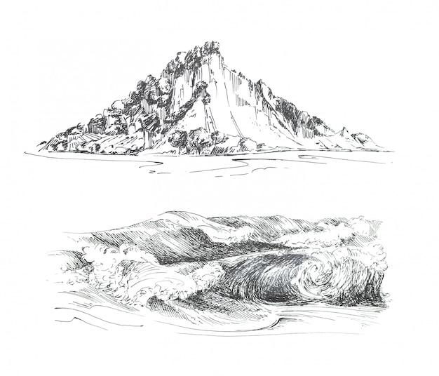 Grafische handgeschilderde bergen en golven clipart set geïsoleerd. eiland- en oceaanontwerp met reisthema.