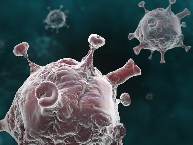 Grafische illustratie van de pandemie van de coronavirus-ziekte op een donkere achtergrond