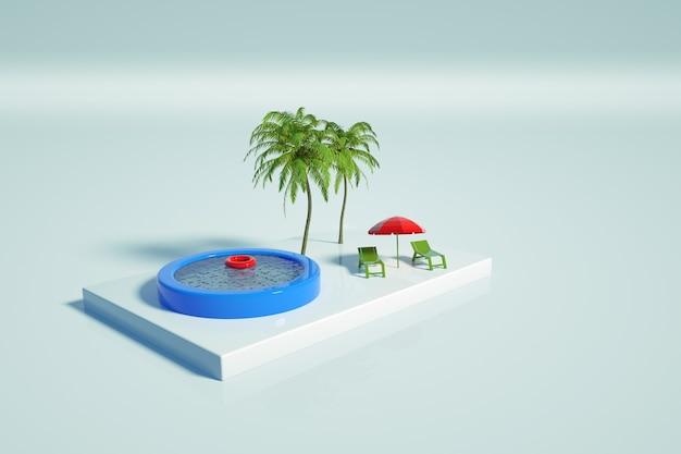 Grafische illustratie van een zwembad met water, palmbomen, ligstoelen en een paraplu op een witte geïsoleerde achtergrond. plek om te ontspannen. opblaasbaar zwembad. 3d-graphics, bovenaanzicht