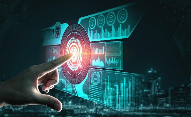 Grafische interface met toekomstige computertechnologie van winstanalyse, online marketingonderzoek en informatierapport voor digitale bedrijfsstrategie.