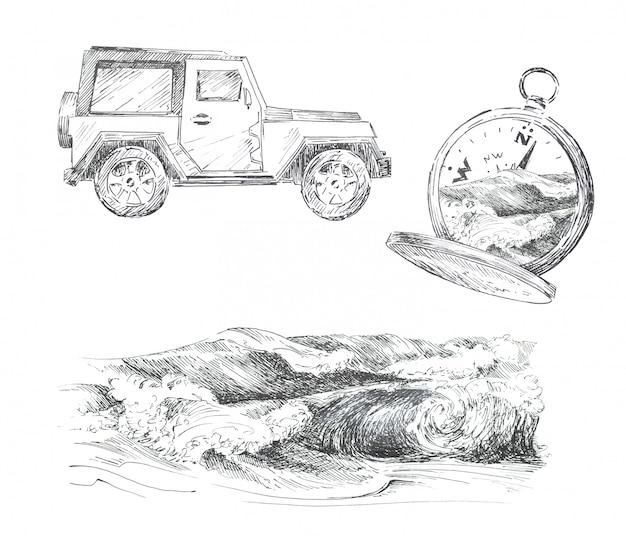 Grafische toerisme thema clipart set geïsoleerd. auto, vintage kompas en oceaan golven illustraties. reizen concept ontwerpset.