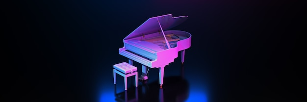 Grand piano in donkere achtergrond 3d-rendering