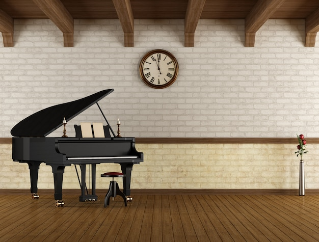 Grand piano in een lege ruimte