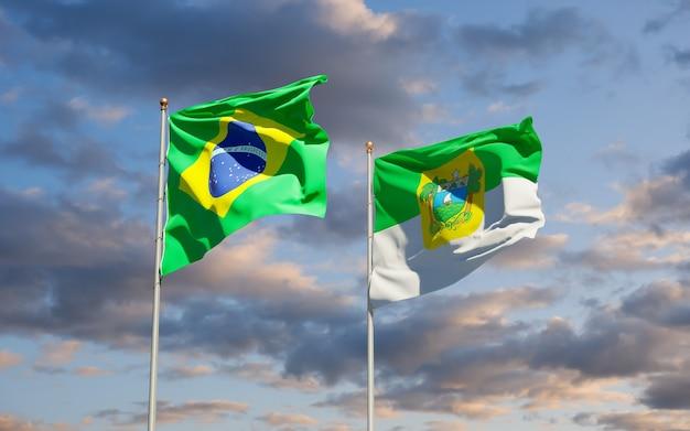 Grande do norto vlag van de staat brazilië. 3d-illustraties