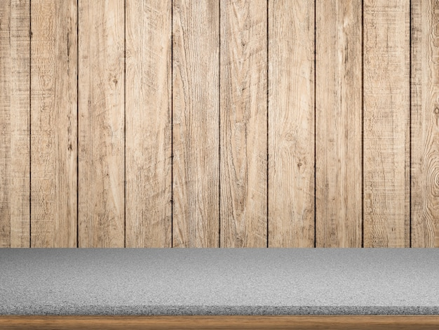 Granieten aanrecht op houten ondergrond