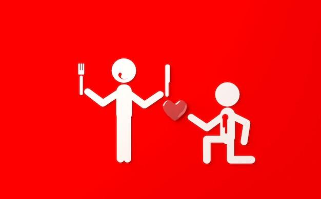 Grap op de dag 3d illustratie van de valentijnskaart
