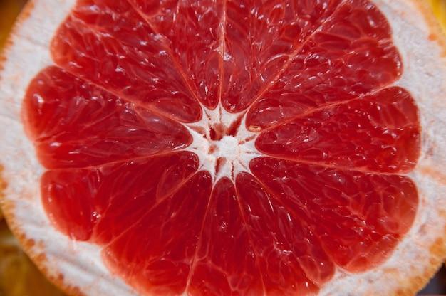 Grapefruit in de snee. textuureenheden van de grapefruit