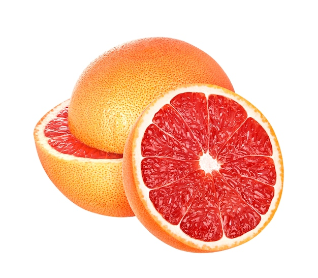 Grapefruit op wit wordt geïsoleerd dat