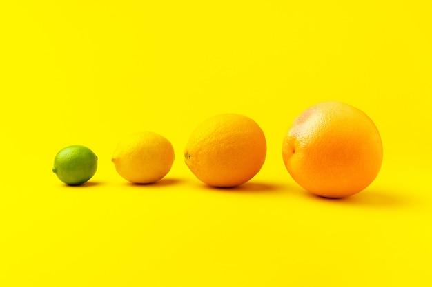Grapefruit, sinaasappel, citroen en limoen